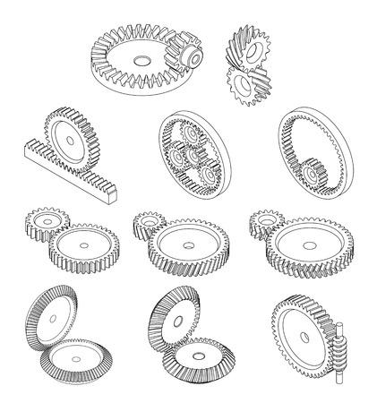 歯車の 11 種類  イラスト・ベクター素材