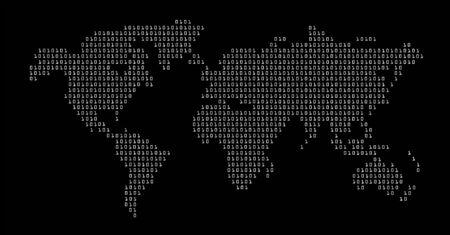 digital world: world in digital map vector Illustration