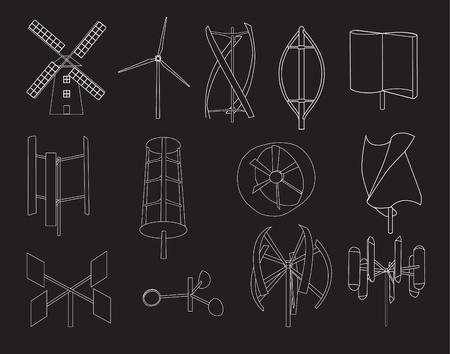 wind turbine: 13 type de turbine �olienne avec un fond noir