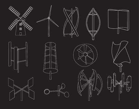flapping: 13 type of wind turbine with black background