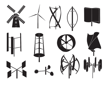 13 type of wind turbine with white background Ilustracja