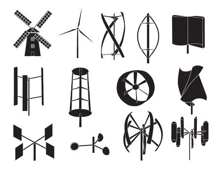 13 type of wind turbine with white background Stock Illustratie