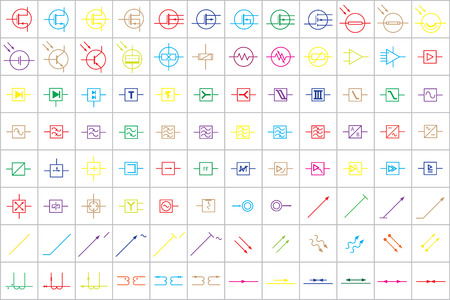 alternateur: 96 Symboles électroniques et électriques Colored Vector Vol.3 Illustration