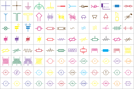 pb: 96 Electronic and Electric Symbols Colored Vector Vol.1 Illustration
