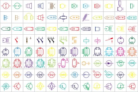 96 Electronic and Electric Symbols Colored Vector Vol.2