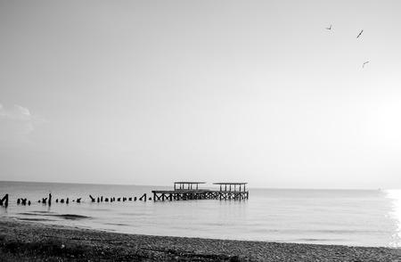 black & white Fishing pier Sunrise photo