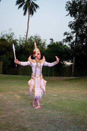 pantomime: La pantomima Ramayana en el teatro al aire libre en Tailandia