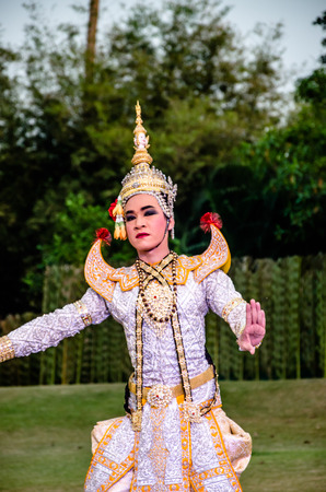 The pantomime  Ramayana at the outdoor theater in thailand