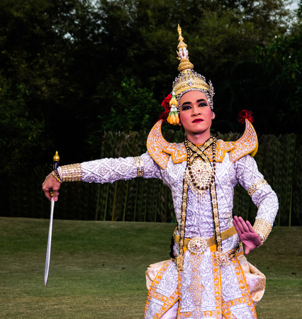 pantomime: The pantomime  Ramayana at the outdoor theater in thailand