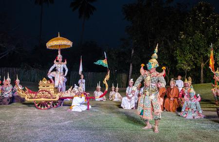 pantomima: La pantomima Ramayana en el teatro al aire libre en Tailandia