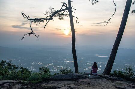 kradueng: Sunset beam shining at Phu Kradueng National Park Loei Province Thailand Stock Photo