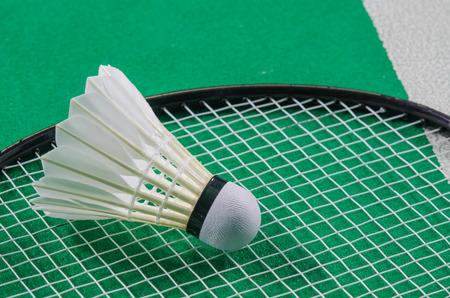 shuttlecock: shuttlecock on Badminton court
