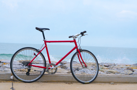 road cycling: Bicycles and bike path seaside. Stock Photo