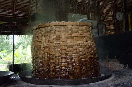 coconut sugar: The coconut sugar traditional Thailand. Soft-focus image