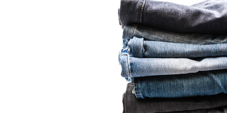 bluejeans: jeans texture on White background Stock Photo