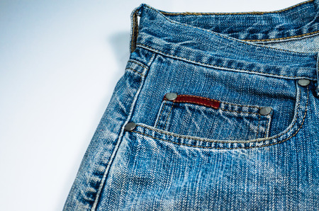 jeans texture on White background Stock Photo