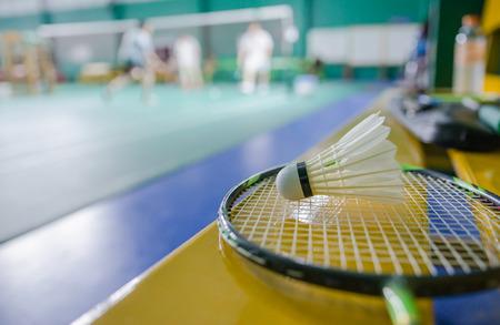 shuttlecock: shuttlecock on badminton racket