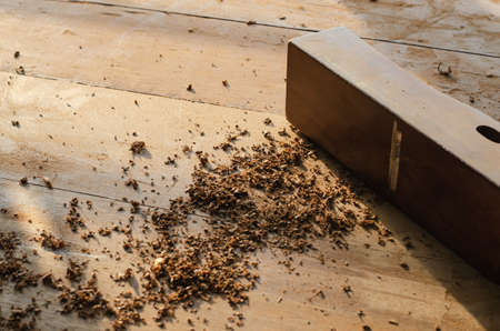 The carpenter was working furniture wood in workshop