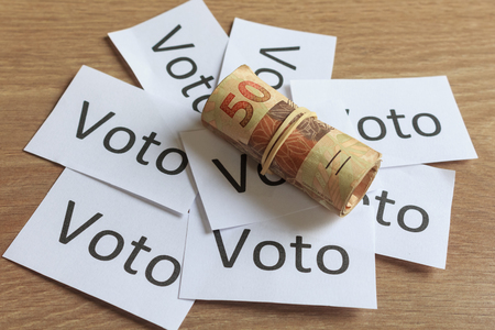 Voto (in portuguese: Vote), political corruption in Brazil and the purchase of votes in elections. In a concept image.