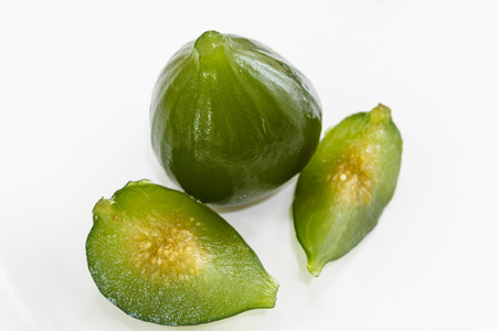 Compote of green figs, a delicious dessert. Stock Photo