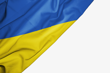 Ukraine flag of fabric with copyspace for your text on white background