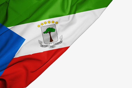 Equatorial Guinea flag of fabric with copyspace for your text on white background