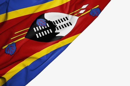 Swaziland flag of fabric with copyspace for your text on white background