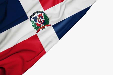 Dominican Republic flag of fabric with copyspace for your text on white background