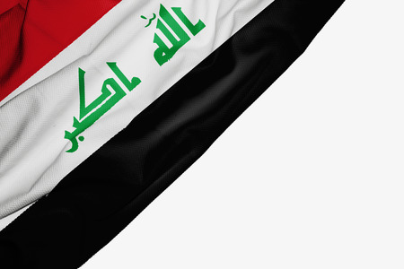 Iraq flag of fabric with copyspace for your text on white background
