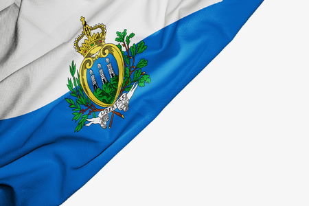 San Marino flag of fabric with copyspace for your text on white background Stock Photo