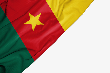 Cameroon flag of fabric with copyspace for your text on white background Stock Photo