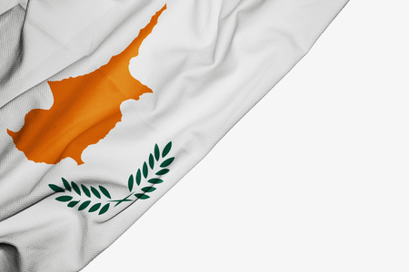 Cyprus flag of fabric with copyspace for your text on white background