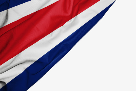 Costa Rica flag of fabric with copyspace for your text on white background