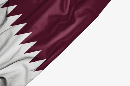 Qatar flag of fabric with copyspace for your text on white background