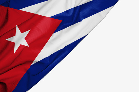 Cuba flag of fabric with copyspace for your text on white background