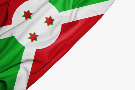 Burundi flag of fabric with copyspace for your text on white background