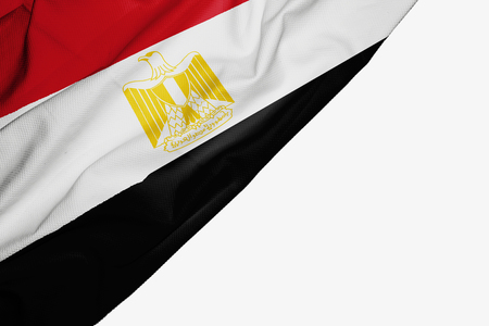 Egypt flag of fabric with copyspace for your text on white background