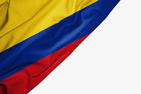 Colombia flag of fabric with copyspace for your text on white background
