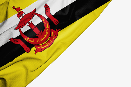 Brunei flag of fabric with copyspace for your text on white background