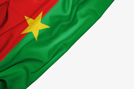 Burkina Faso flag of fabric with copyspace for your text on white background