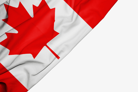 Canada flag of fabric with copyspace for your text on white background