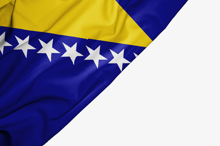 Bosnia and Herzegovina flag of fabric with copyspace for your text on white background