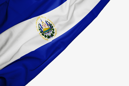 El Salvador flag of fabric with copyspace for your text on white background