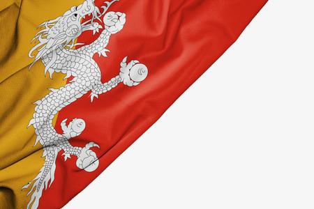 Bhutan flag of fabric with copyspace for your text on white background