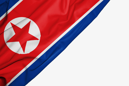 North Korea flag of fabric with copyspace for your text on white background