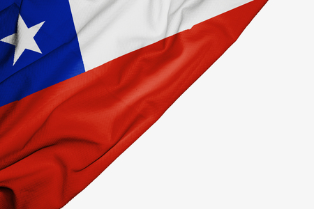 Chile flag of fabric with copyspace for your text on white background