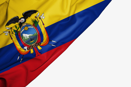 Ecuador flag of fabric with copyspace for your text on white background