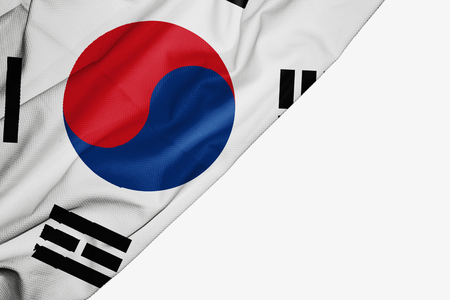 South Korea flag of fabric with copyspace for your text on white background Stock Photo