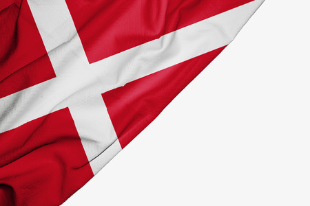 Denmark flag of fabric with copyspace for your text on white background