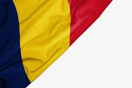 Chad flag of fabric with copyspace for your text on white background Stock Photo